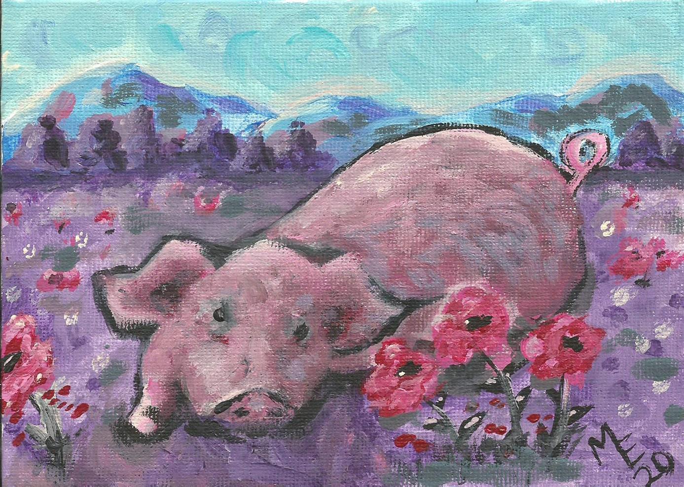 Pig & Flowers